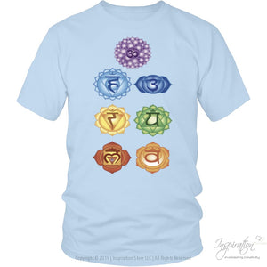 Chakras Shirts - (Style B) - T-Shirt - District Unisex Shirt / Ice Blue / S - Inspiration Store Llc