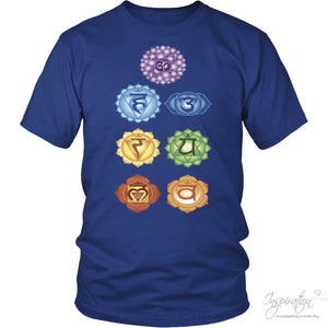 Chakras Shirts - (Style B) - T-Shirt - District Unisex Shirt / Royal Blue / S - Inspiration Store Llc
