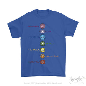 Chakras Tee - (Style A) - T-Shirt - Gildan Mens T-Shirt / Royal Blue / S - Inspiration Store Llc