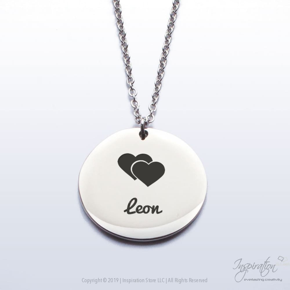 Double Heart Pendant - (2 Styles) *personalizable - Pendant - Stainless Steel - Inspiration Store Llc