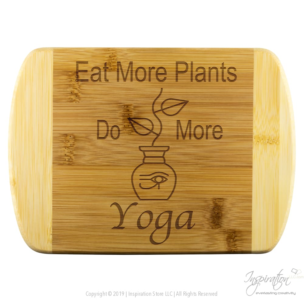 Eat Plants Do Yoga Cutting Board (Style A) Free Shipping - Wood Cutting Boards - Round Edge Wood Cutting Board - Inspiration Store Llc