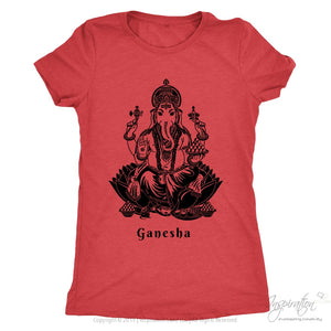 Ganesha - (Black Imprint Style A) - T-Shirt - Next Level Ladies Triblend / Vintage Red / S - Inspiration Store Llc