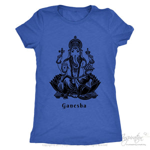 Ganesha - (Black Imprint Style A) - T-Shirt - Next Level Ladies Triblend / Vintage Royal / S - Inspiration Store Llc