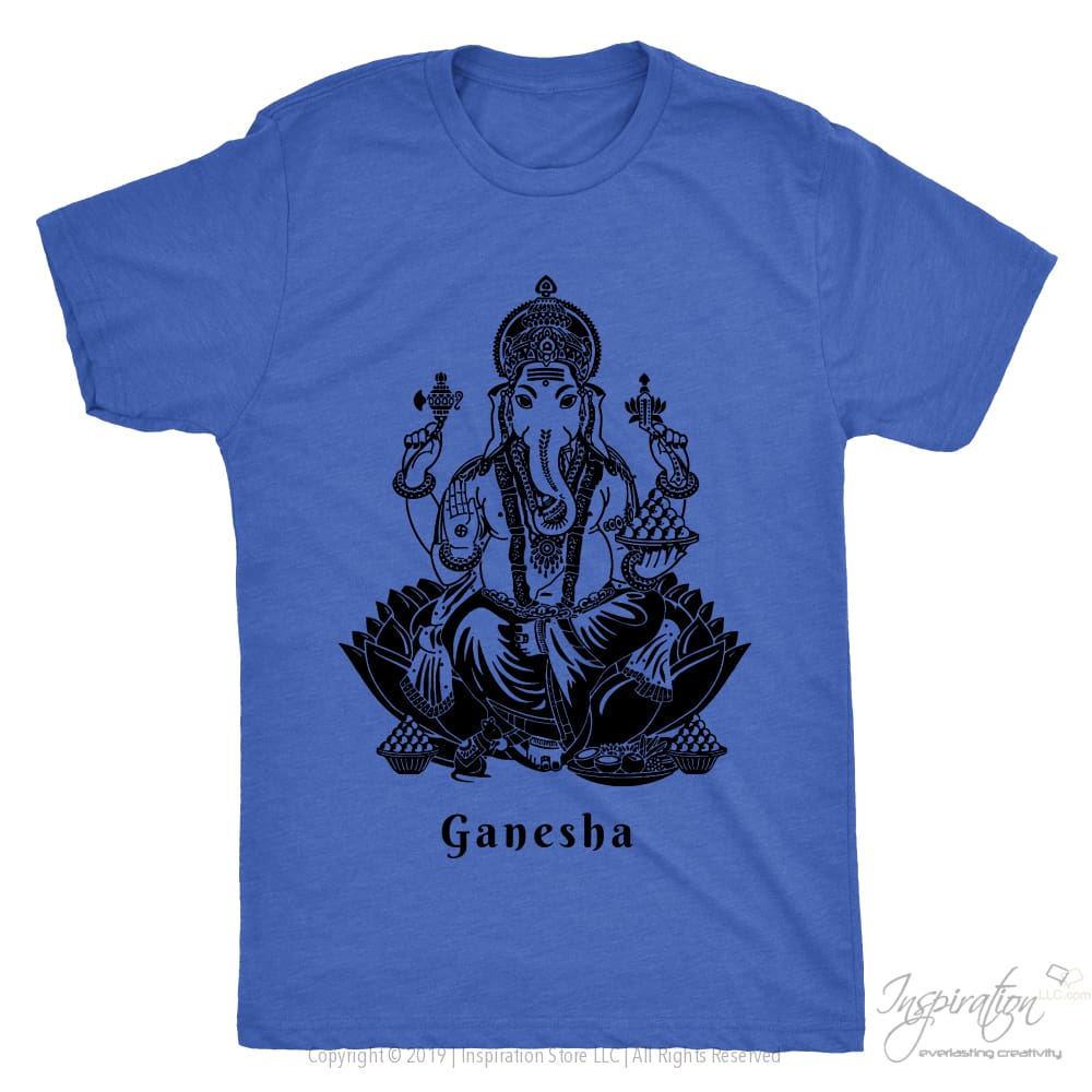 Ganesha - (Black Imprint Style A) - T-Shirt - Next Level Mens Triblend / Vintage Royal / S - Inspiration Store Llc