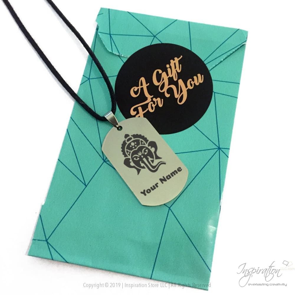 Ganesha Design Dogtag Necklace - (Style A) *personalizable - Necklace - Inspiration Store Llc