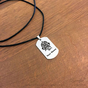 Ganesha Design Dogtag Necklace - (Style A) *personalizable - Necklace - Stainless Steel - Inspiration Store Llc