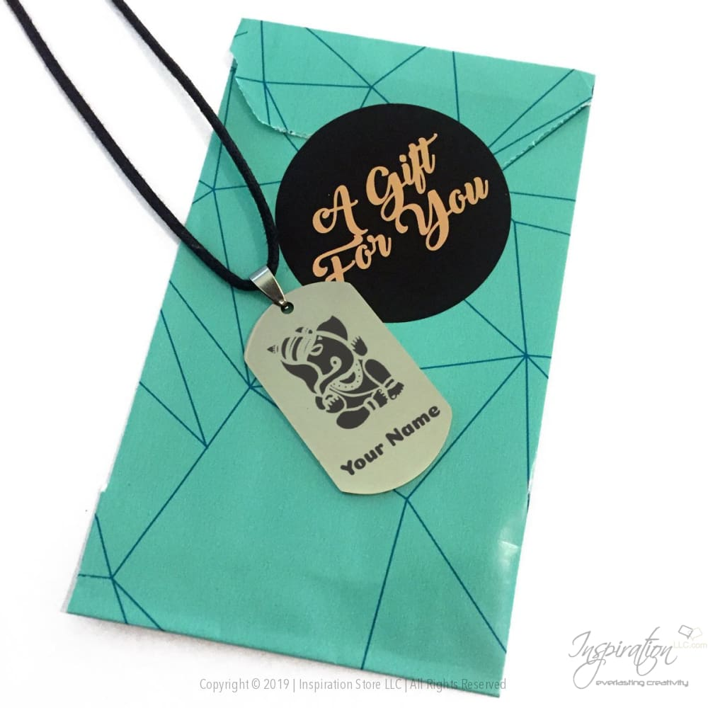 Ganesha Design Dogtag Necklace - (Style B) *personalizable - Necklace - Inspiration Store Llc