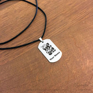 Ganesha Design Dogtag Necklace - (Style B) *personalizable - Necklace - Stainless Steel - Inspiration Store Llc