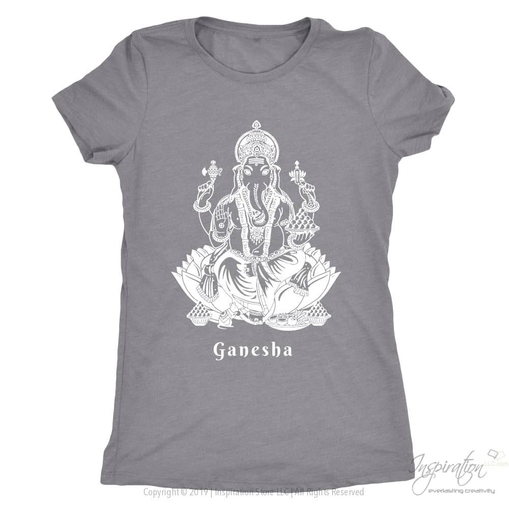 Ganesha - (White Imprint Style B) - T-Shirt - Next Level Ladies Triblend / Heather Grey / S - Inspiration Store Llc