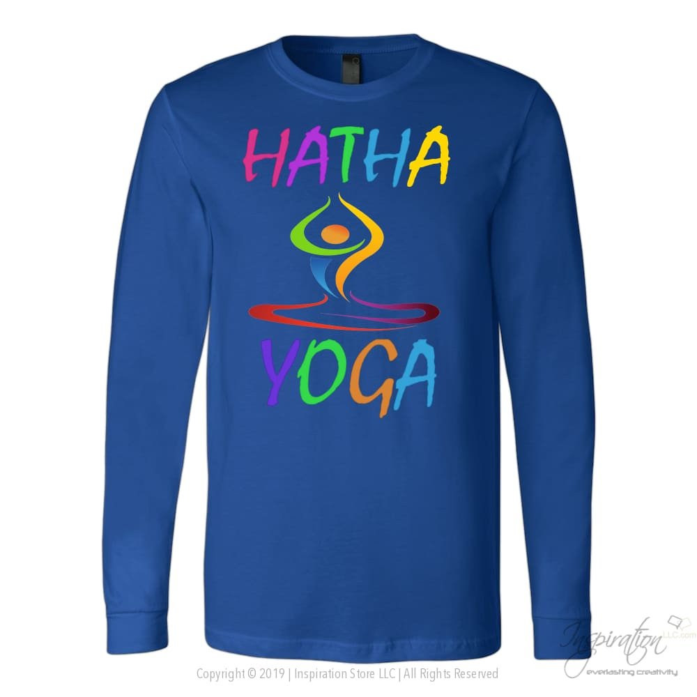 Hatha Yoga - (5 Styles) - T-Shirt - Canvas Long Sleeve Shirt / Royal / S - Inspiration Store Llc