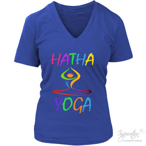 Hatha Yoga - (5 Styles) - T-Shirt - District Womens V-Neck / Royal Blue / S - Inspiration Store Llc