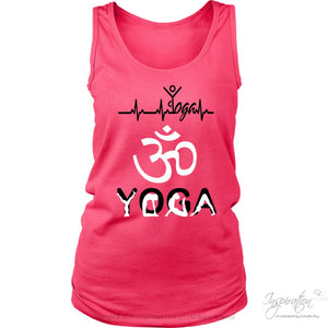 Heartbeat Yoga - (Style A Women) - T-Shirt - District Womens Tank / Neon Pink / S - Inspiration Store Llc