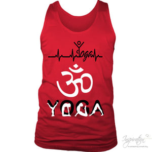 Heartbeat Yoga - (Style B Men) - T-Shirt - District Mens Tank / Red / S - Inspiration Store Llc