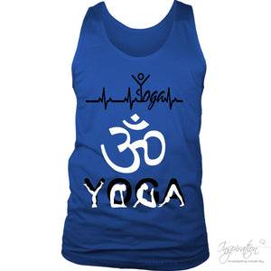 Heartbeat Yoga - (Style B Men) - T-Shirt - District Mens Tank / Royal Blue / S - Inspiration Store Llc