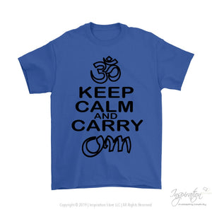 Keep Calm & Carry Om - (Style C) - T-Shirt - Gildan Mens T-Shirt / Royal Blue / S - Inspiration Store Llc