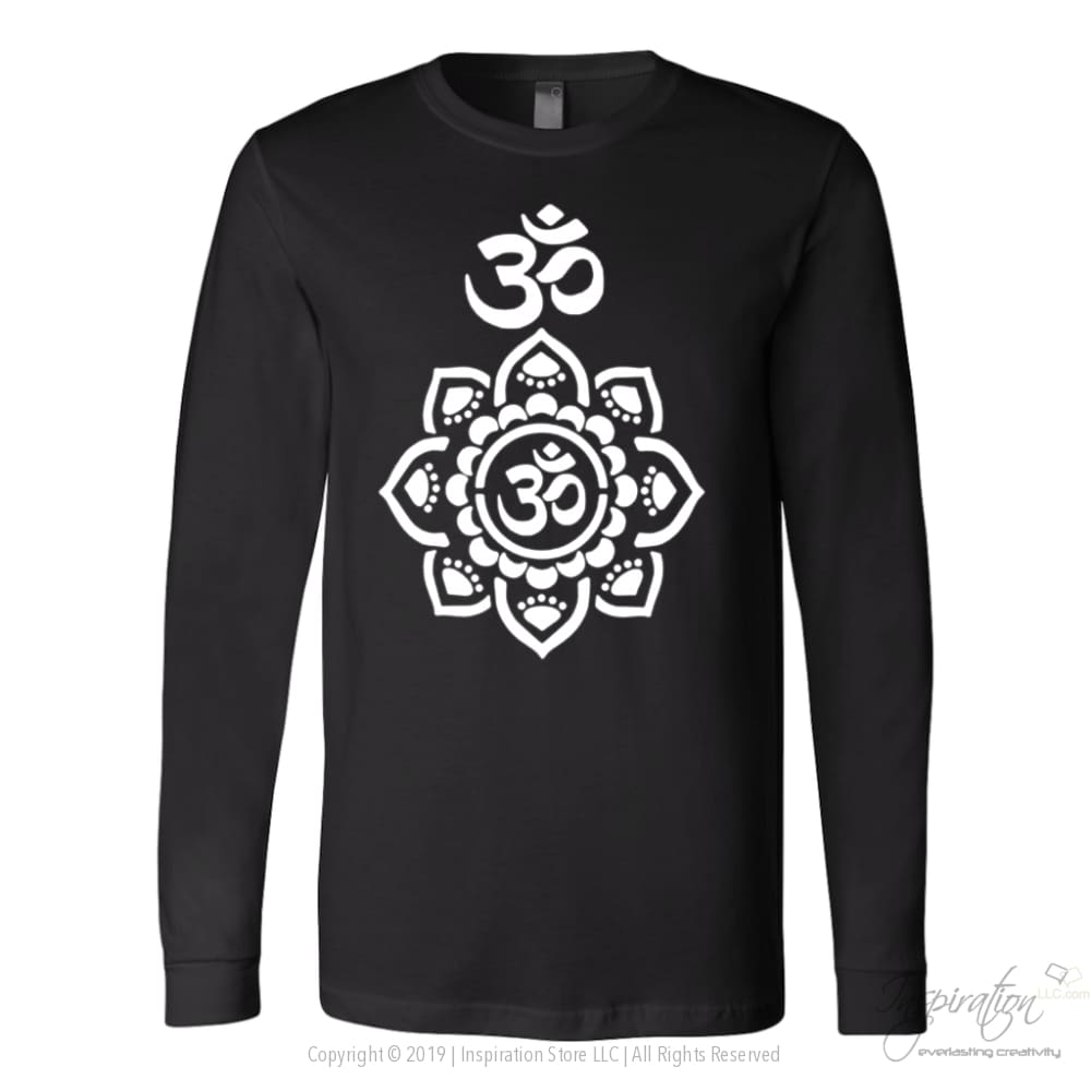 Mandala Stencil - (Style A) Free Shipping - T-Shirt - Canvas Long Sleeve Shirt / Black / S - Inspiration Store Llc