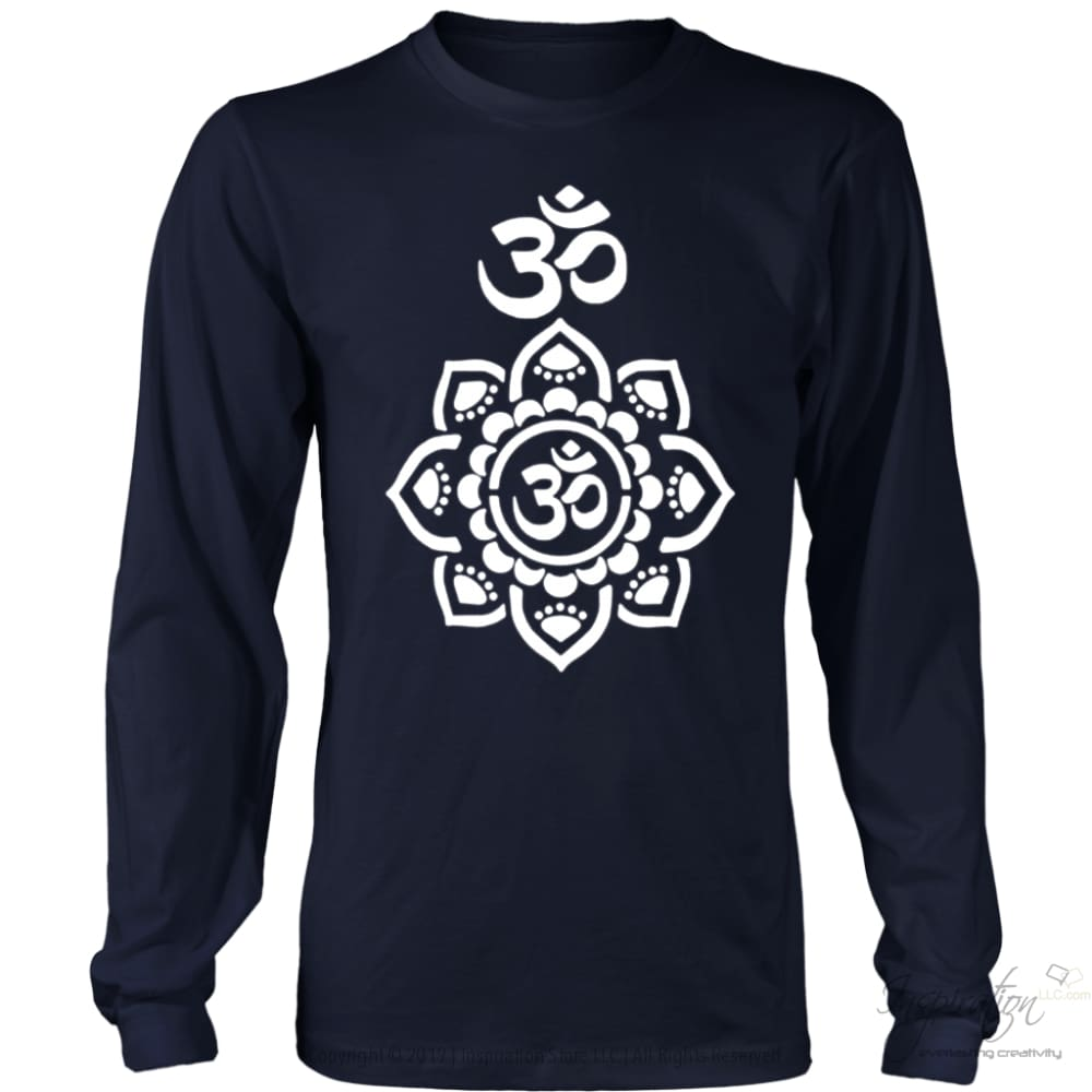 Mandala Stencil - (Style B) Free Shipping - T-Shirt - District Long Sleeve Shirt / Navy / S - Inspiration Store Llc