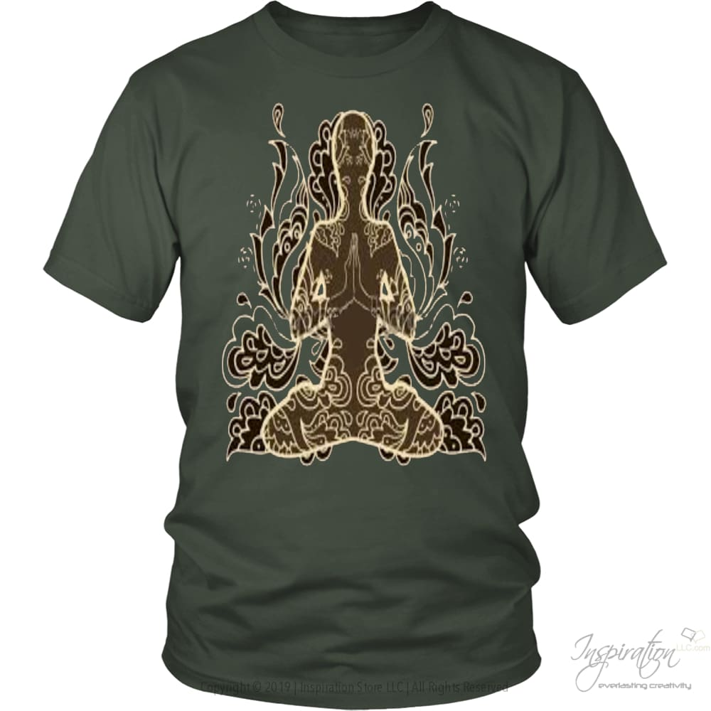 Meditation By Design - (2 Styles) Free Shipping - T-Shirt - District Unisex Shirt / Olive / 2Xl - Inspiration Store Llc
