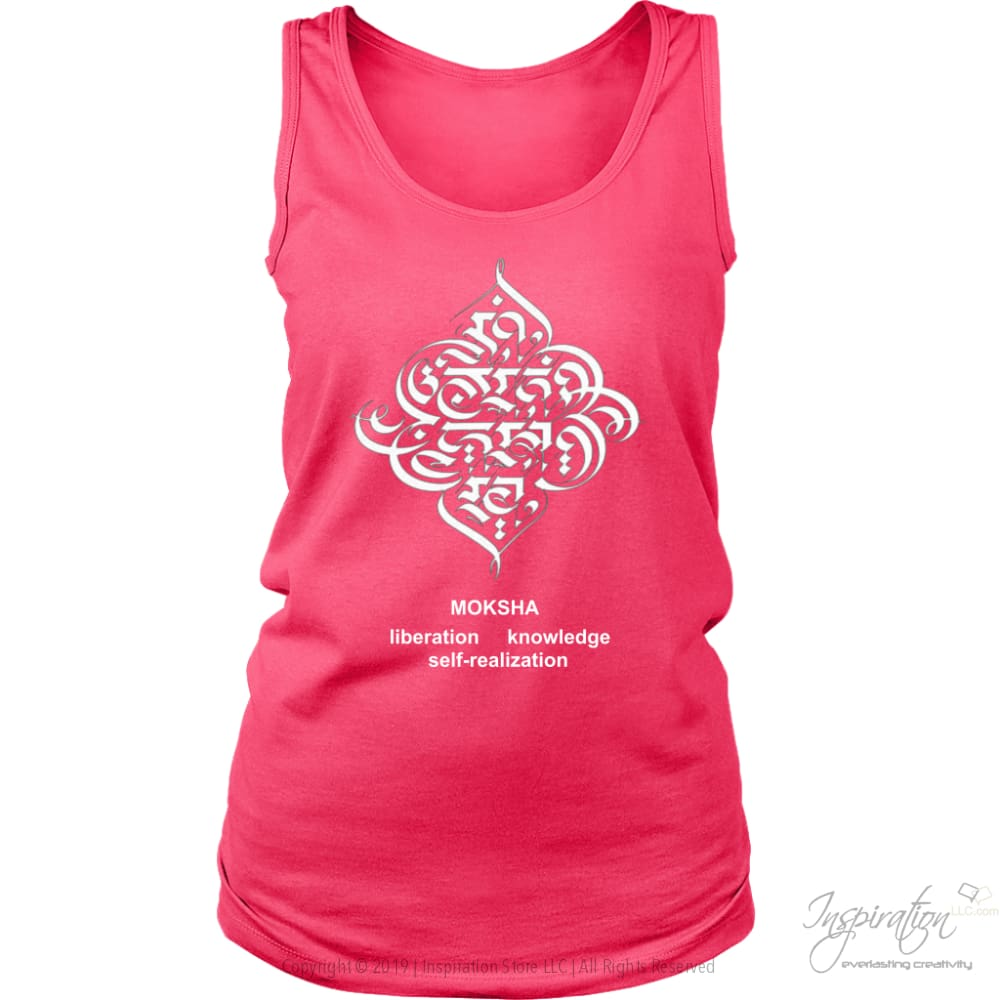 Moksha - (Style B Women) - T-Shirt - District Womens Tank / Neon Pink / S - Inspiration Store Llc