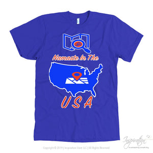 Namaste In The Usa - (Style B) - T-Shirt - American Apparel Mens / Royal / S - Inspiration Store Llc