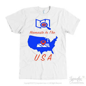 Namaste In The Usa - (Style B) - T-Shirt - American Apparel Mens / White / S - Inspiration Store Llc