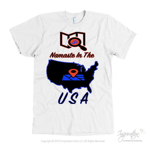 Namaste In The Usa - (Style C) - T-Shirt - American Apparel Mens / White / S - Inspiration Store Llc