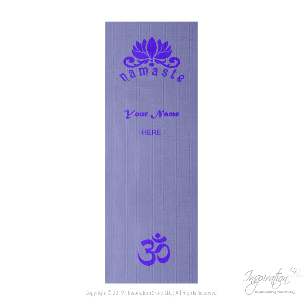 Namaste Yoga Mat - Add Your Name - Yoga Mat - Style D - 8080C0 - Inspiration Store Llc