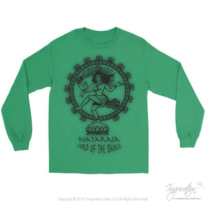 Nataraja Lord Of The Dance - (Style C Unisex) - T-Shirt - Gildan Long Sleeve Tee / Kelly Green / S - Inspiration Store Llc