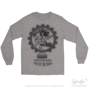 Nataraja Lord Of The Dance - (Style C Unisex) - T-Shirt - Gildan Long Sleeve Tee / Sports Grey / S - Inspiration Store Llc