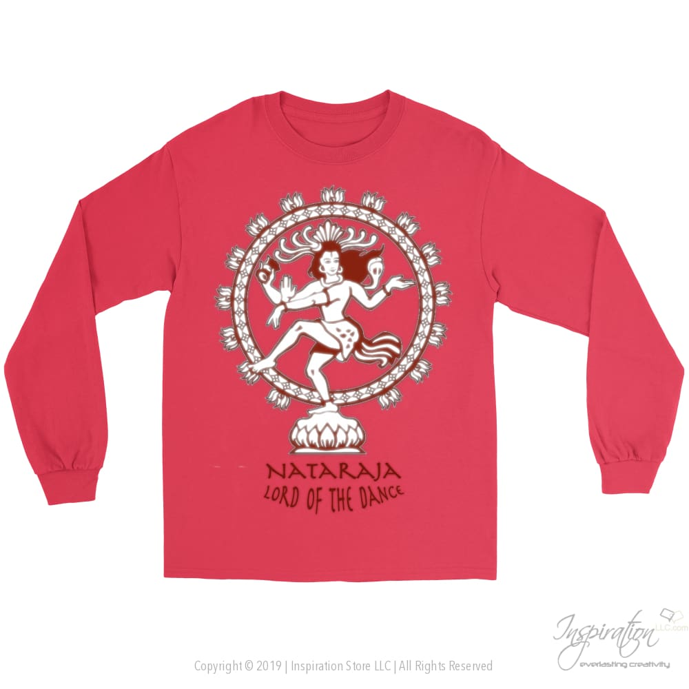 Nataraja Lord Of The Dance - (Style D Unisex) - T-Shirt - Gildan Long Sleeve Tee / Red / S - Inspiration Store Llc