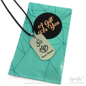 Om & Lotus Dogtag Necklace *personalizable - Necklace - Inspiration Store Llc
