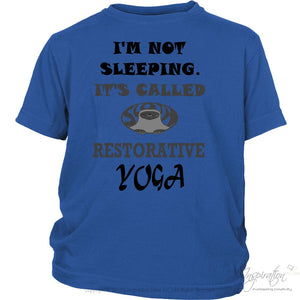 Restorative Yoga - (Style C) - T-Shirt - District Youth Shirt / Royal Blue / Xs - Inspiration Store Llc