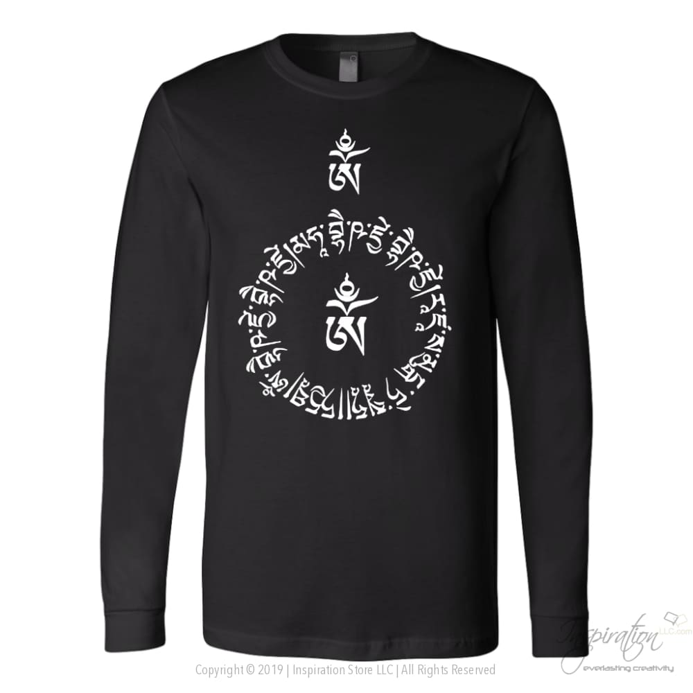 Sanskrit Protection Prayer - (Style A) Free Shipping - T-Shirt - Canvas Long Sleeve Shirt / Black / S - Inspiration Store Llc