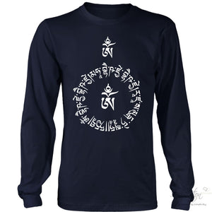 Sanskrit Protection Prayer - (Style B) Free Shipping - T-Shirt - District Long Sleeve Shirt / Navy / S - Inspiration Store Llc
