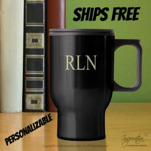 Travel Mug - (Style A Black) Personalizable - Free Shipping - Personalizationpop Items - Inspiration Store Llc
