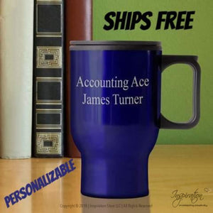 Travel Mug - (Style A Blue) Personalizable - Free Shipping - Personalizationpop Items - Inspiration Store Llc