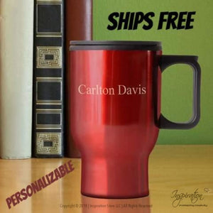 Travel Mug - (Style A Red) Personalizable - Free Shipping - Personalizationpop Items - Inspiration Store Llc