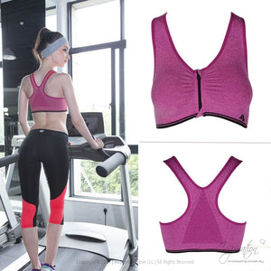 Workout & Yoga Sports Bra - (Zip Front) - Inspiration Store Llc