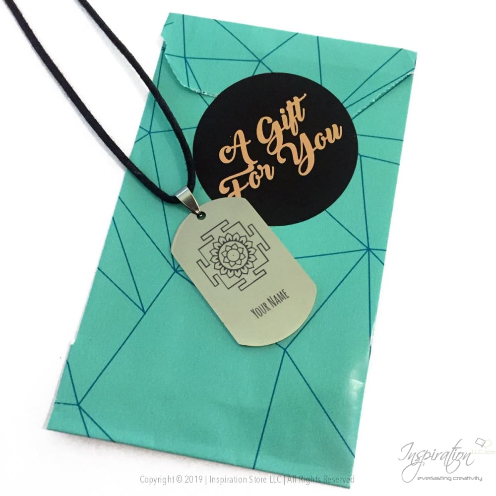 Yantra Dogtag Necklace - (Style A) *personalizable - Pendant - Inspiration Store Llc