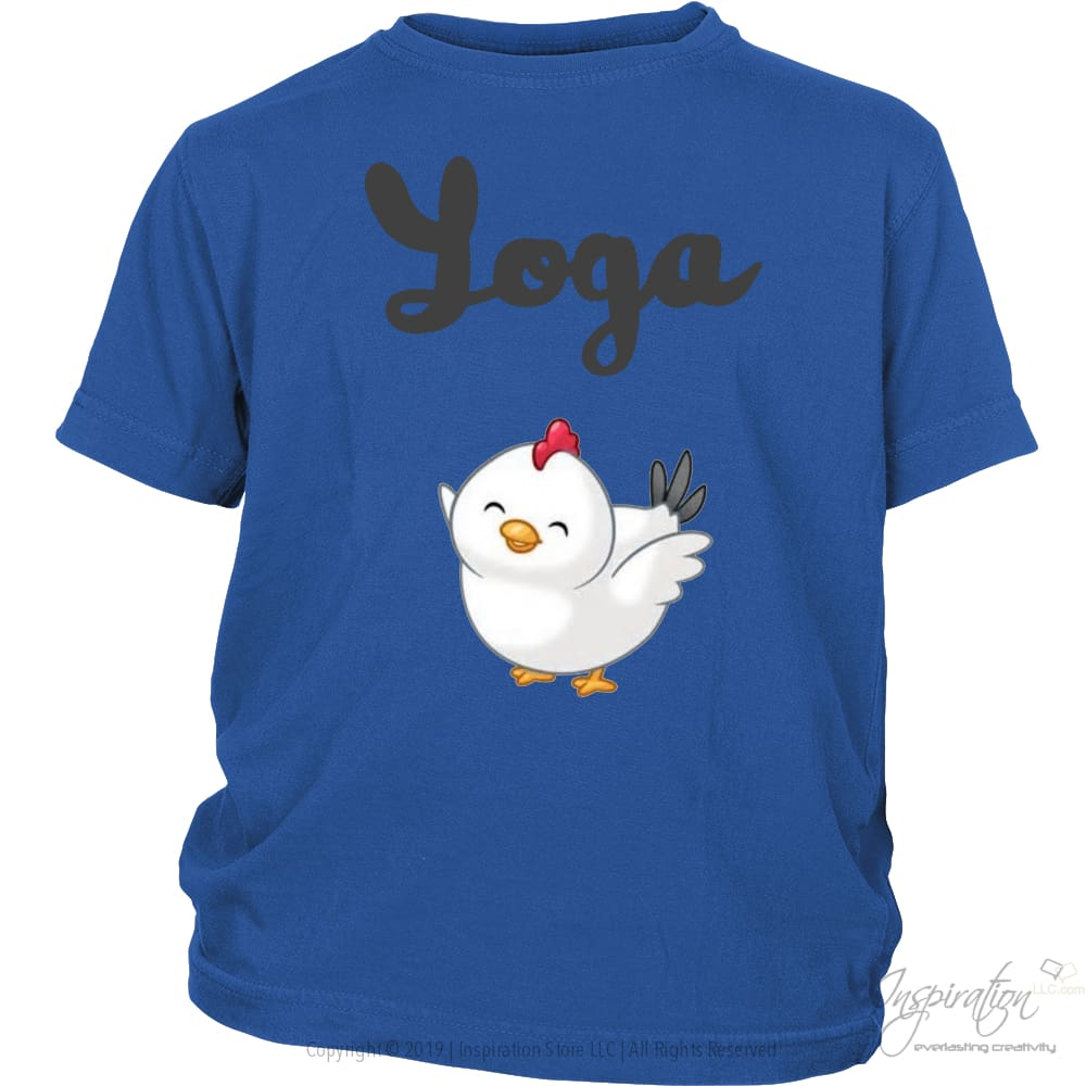 Yoga Chick - (Style B) - T-Shirt - District Youth Shirt / Royal Blue / Xs - Inspiration Store Llc