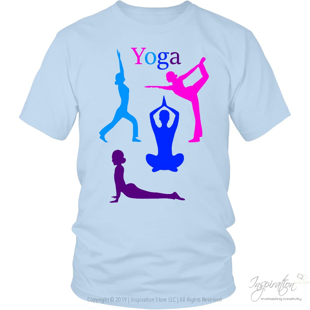 Yoga Colorful Graphic Shirts - (Style A) - T-Shirt - District Unisex Shirt / Ice Blue / S - Inspiration Store Llc