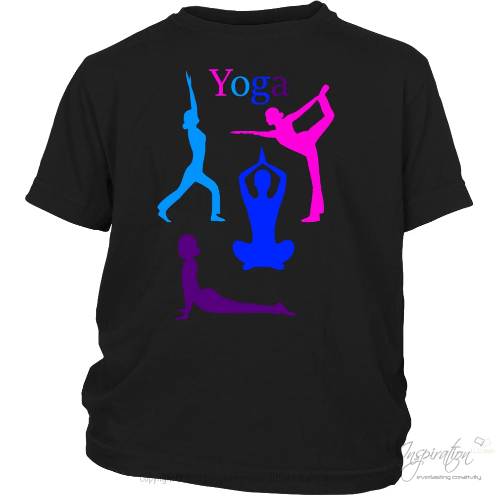 Yoga Colorful Graphic Shirts - (Style A) - T-Shirt - District Youth Shirt / Black / Xs - Inspiration Store Llc