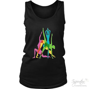 Yoga Crazy Colors - (Style B) - T-Shirt - District Womens Tank / Black / S - Inspiration Store Llc