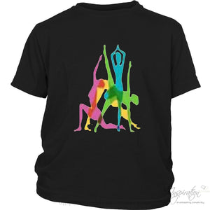 Yoga Crazy Colors - (Style B) - T-Shirt - District Youth Shirt / Black / Xs - Inspiration Store Llc