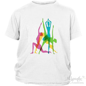 Yoga Crazy Colors - (Style B) - T-Shirt - District Youth Shirt / White / Xs - Inspiration Store Llc