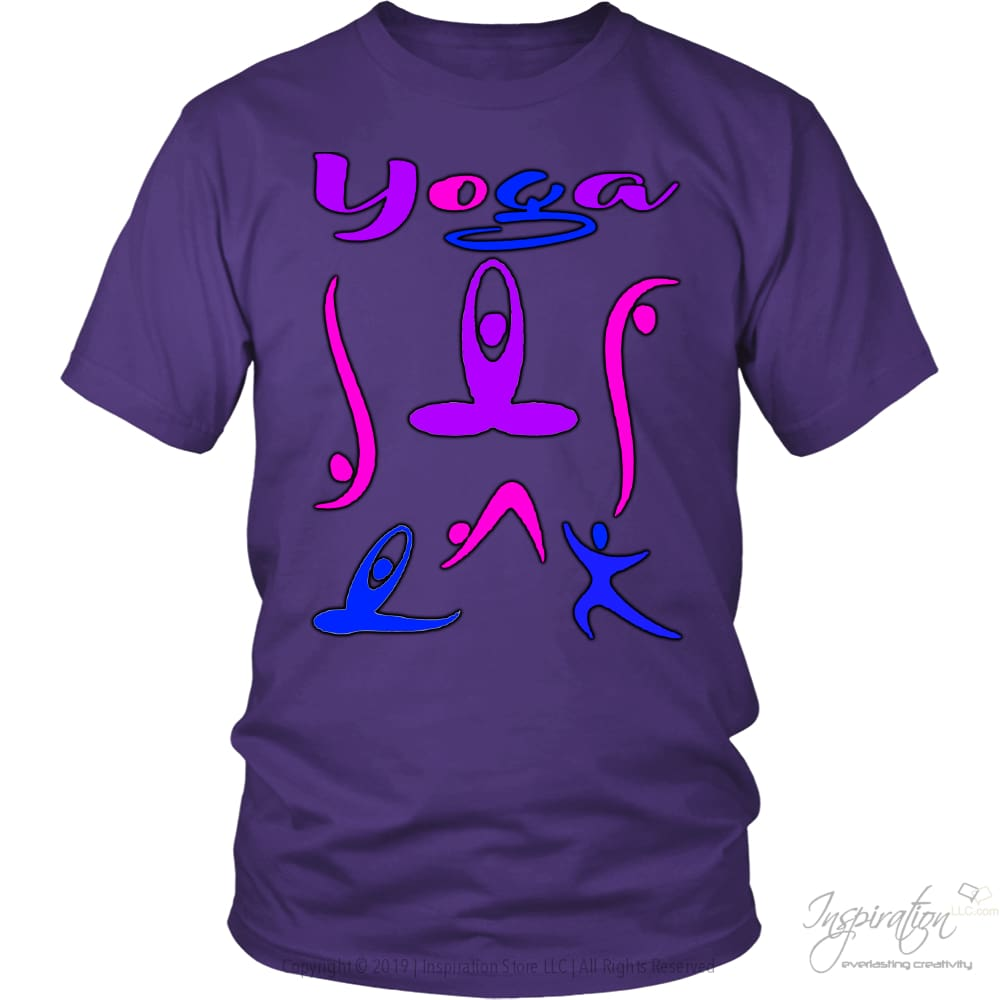 Yoga In Color Tee - T-Shirt - District Unisex Shirt / Purple / S - Inspiration Store Llc