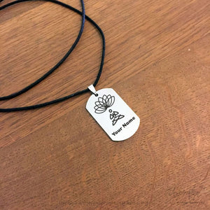 Yoga & Lotus Dogtag Necklace - (Style A) *personalizable - Necklace - Stainless Steel - Inspiration Store Llc