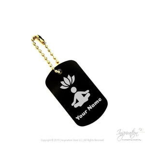 Yoga & Lotus Keychain Pendant - (Style A) *personalizable - Dogtag - Black Aluminum - Inspiration Store Llc