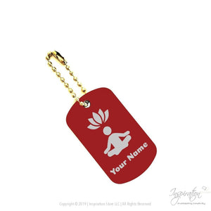 Yoga & Lotus Keychain Pendant - (Style A) *personalizable - Dogtag - Red Aluminum - Inspiration Store Llc