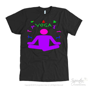 Yoga Meditation Pastel & Neon - (Style A) - T-Shirt - American Apparel Mens / Black / S - Inspiration Store Llc